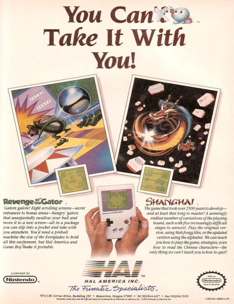 Gameboy color ad -  Revenge Of The Gator And Shanghai Ad Game Boy